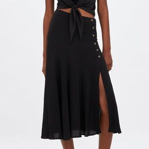 Zara high waist, midi skirt w/ buttons & slit, NWT